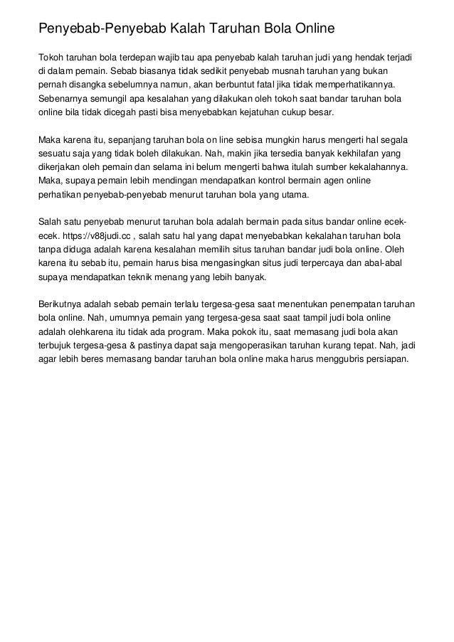 Penyebab-Penyebab Kalah Taruhan Bola Online Tokoh taruhan bola terdepan wajib tau apa penyebab kalah taruhan judi yang hen...