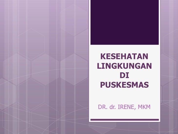 KESEHATANLINGKUNGAN     DI PUSKESMASDR. dr. IRENE, MKM