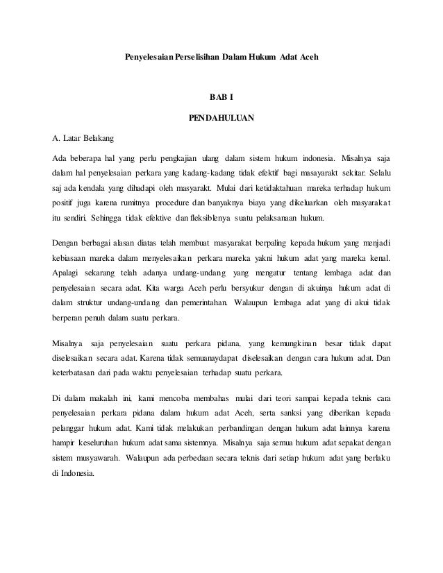 Penyelesaian Perselisihan Dalam Hukum Adat Aceh