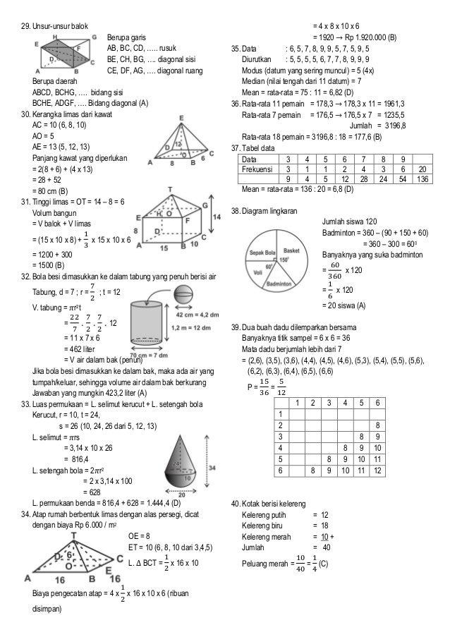 Penyelesaian Soal Ujian Sekolah Matematika Smp Kab Cilacap Tahun 2013