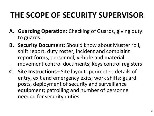 Security Supervisor Duties. security guard supervisor job ...