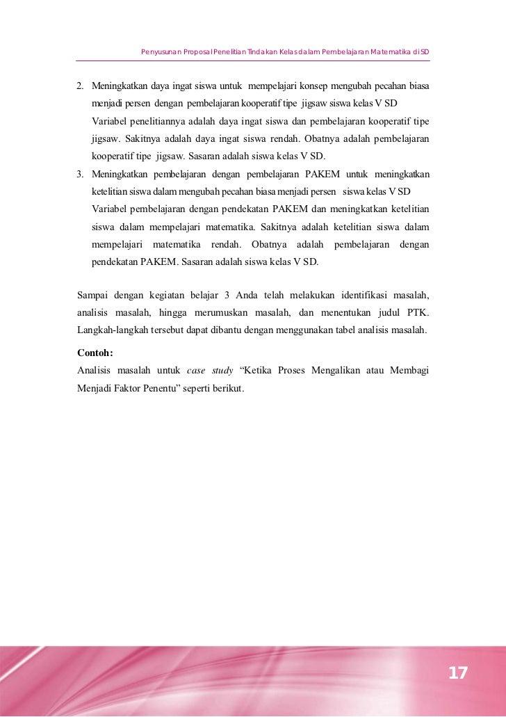 Penyusunan Proposal Penelitian Tindakan Kelas Dalam Pembelajaran Mate