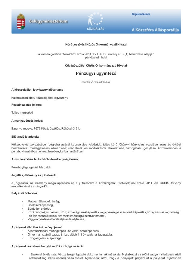 közszolgálati önéletrajz 2019 Kővágószőlős Közös Önkormányzati Hivatal: Pénzügyi ügyintéző állás közszolgálati önéletrajz 2019