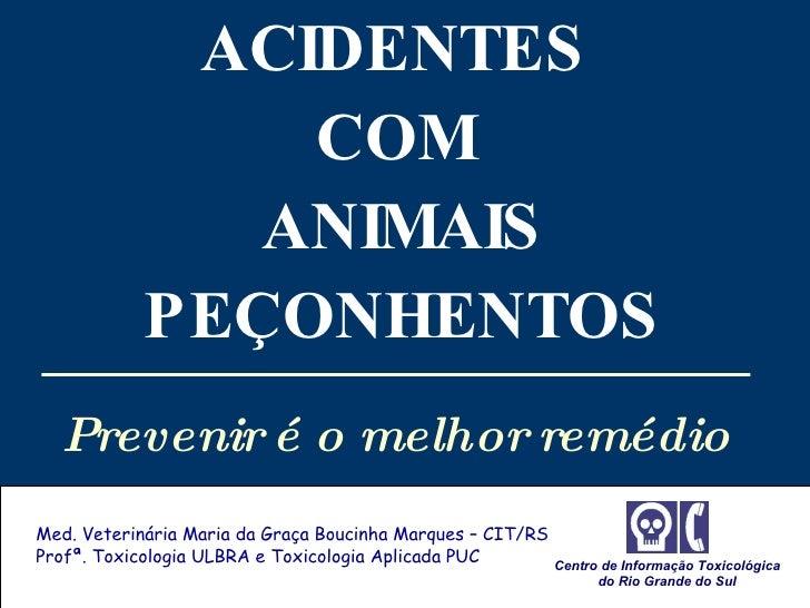 ACIDENTES  COM  ANIMAIS PEÇONHENTOS Prevenir é o melhor remédio   Med. Veterinária Maria da Graça Boucinha Marques – CIT/R...