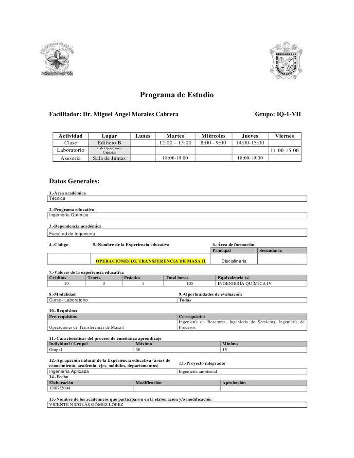 Programa de Estudio  Facilitador: Dr. Miguel Angel Morales Cabrera                                                        ...