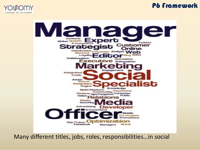 Many different titles, jobs, roles, responsibilities…in social P6 Framework