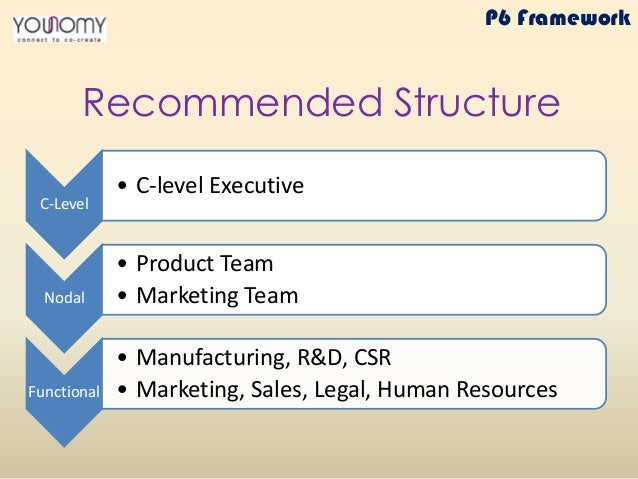 C-Level • C-level Executive Nodal • Product Team • Marketing Team Functional • Manufacturing, R&D, CSR • Marketing, Sales,...