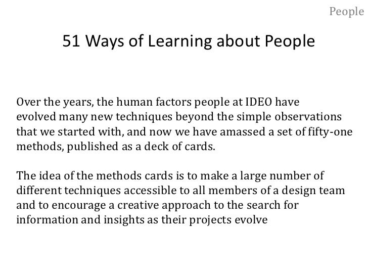 """People<br />Latent Needs and Desires<br />""""Observation"""" was the label we used for the best way to learn<br />about people ..."""