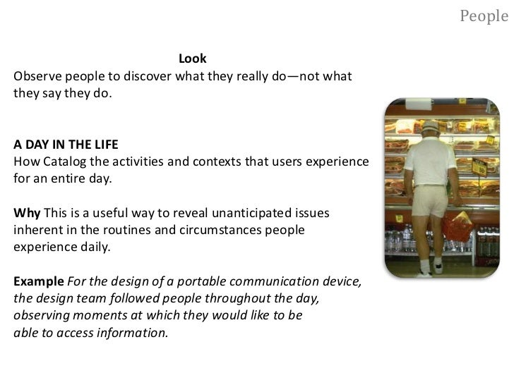 People<br />Look<br />Observe people to discover what they really do—not what <br />they say they do.<br />FLY ON THE WALL...