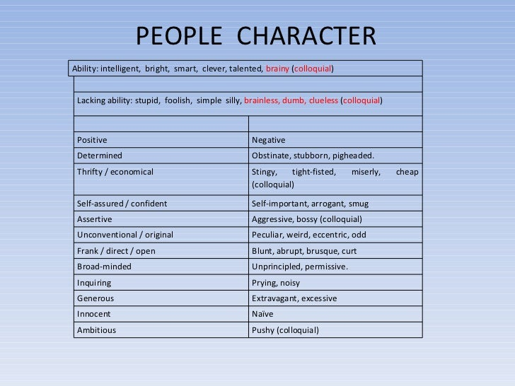 People S Characteristics