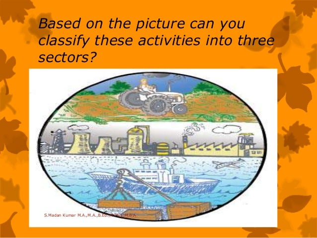 Based on the picture can you classify these activities into three sectors? S.Madan Kumar M.A.,M.A.,B.Ed.,M.Phil.,M.B.A