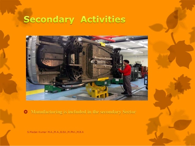  Manufacturing is included in the secondary Sector S.Madan Kumar M.A.,M.A.,B.Ed.,M.Phil.,M.B.A