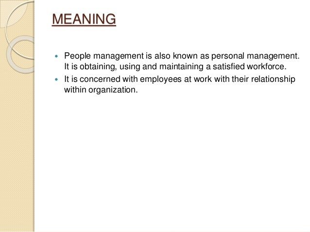Meaning Personal Management