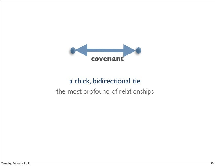 covenant                               a thick, bidirectional tie                           the most profound of relations...