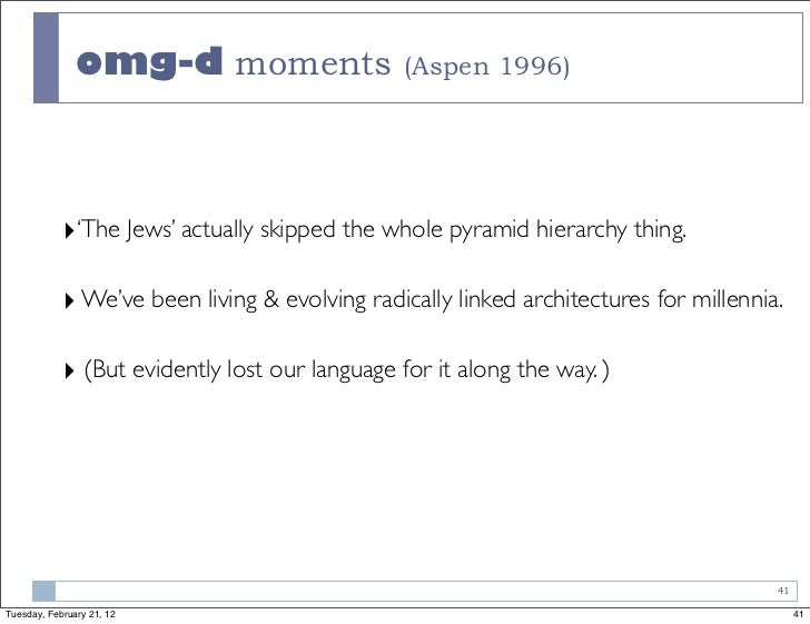 omg-d moments (Aspen 1996)            ‣'The Jews' actually skipped the whole pyramid hierarchy thing.            ‣ We've b...