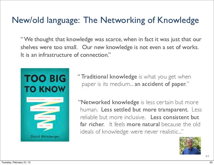 """New/old language: The Networking of Knowledge               """" We thought that knowledge was scarce, when in fact it was ju..."""