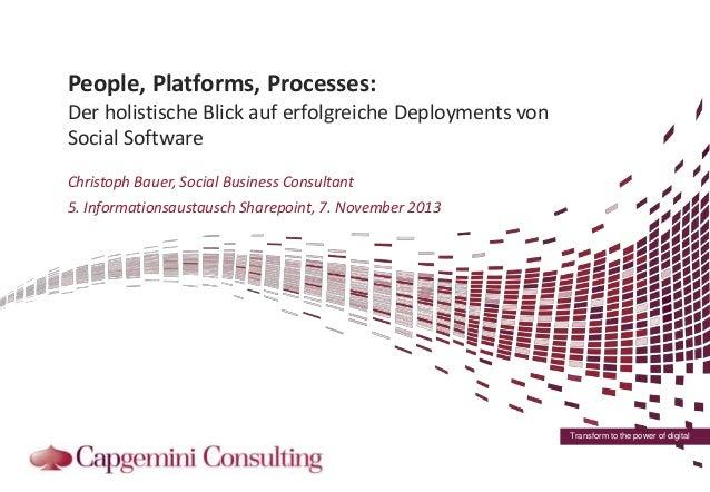 People, Platforms, Processes: Der holistische Blick auf erfolgreiche Deployments von Social Software Christoph Bauer, Soci...