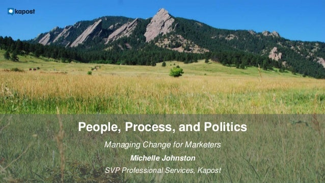 People, Process, and Politics Managing Change for Marketers Michelle Johnston SVP Professional Services, Kapost