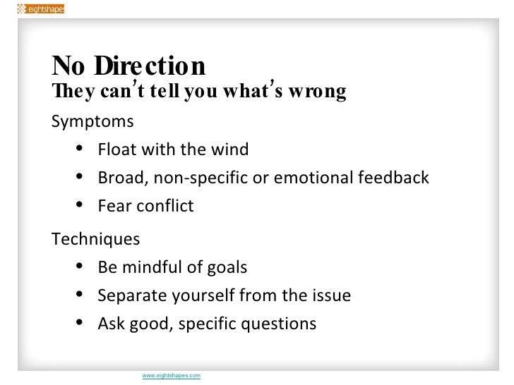 <ul><li>No Direction </li></ul><ul><ul><li>They can't tell you what's wrong </li></ul></ul><ul><ul><ul><li>Symptoms </li><...