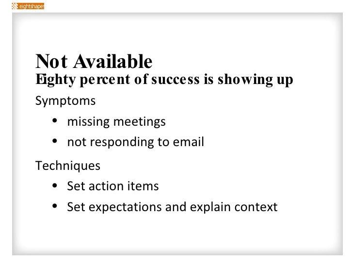 <ul><li>Not Available </li></ul><ul><ul><li>Eighty percent of success is showing up </li></ul></ul><ul><ul><ul><li>Symptom...