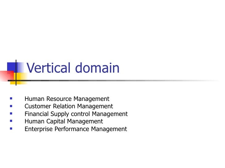 Vertical domain <ul><li>Human Resource Management </li></ul><ul><li>Customer Relation Management </li></ul><ul><li>Financi...