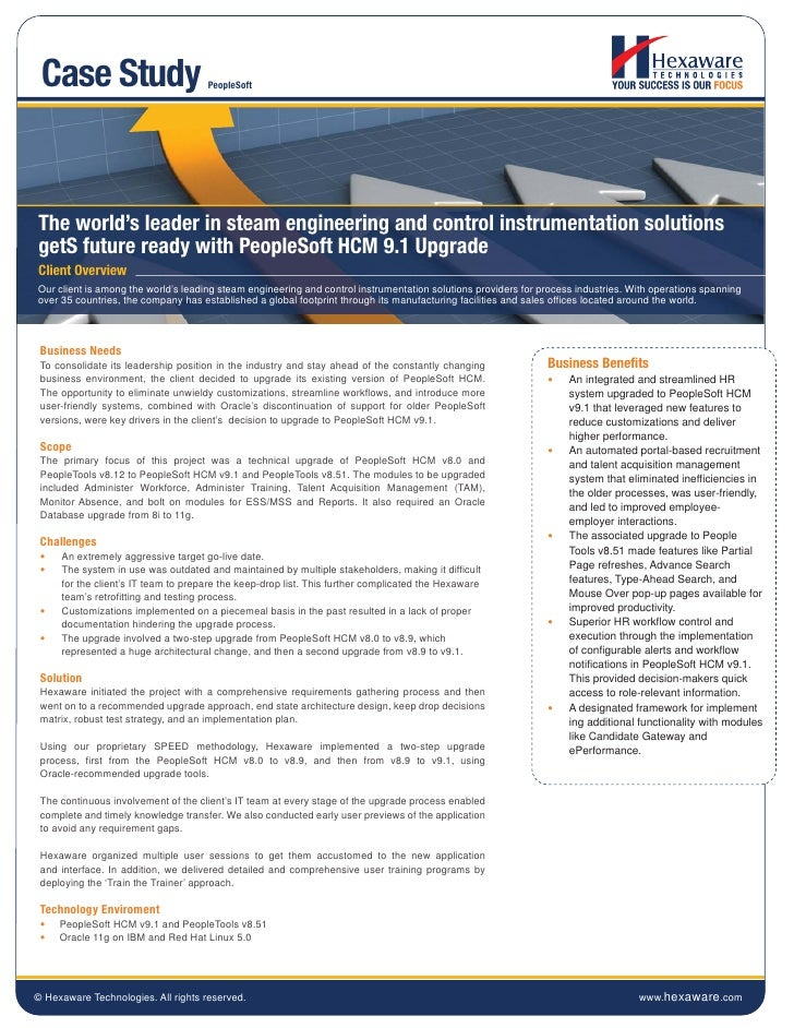 Case Study                          PeopleSoftThe world's leader in steam engineering and control instrumentation solution...