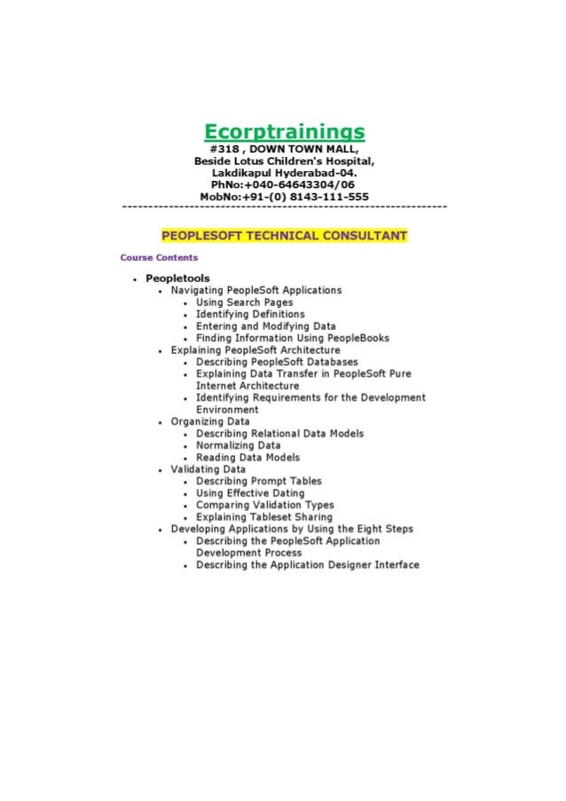 peoplesoft technical consultant online training tutorials best peoplesoft technical consultant training ecorptrainings peoplesoft technical