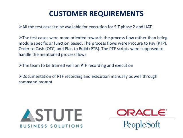 CUSTOMER REQUIREMENTS All the test cases to be available for execution for SIT phase 2 and UAT. The test cases were more...
