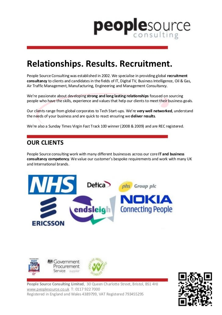 Relationships. Results. Recruitment.People Source Consulting was established in 2002. We specialise in providing global re...