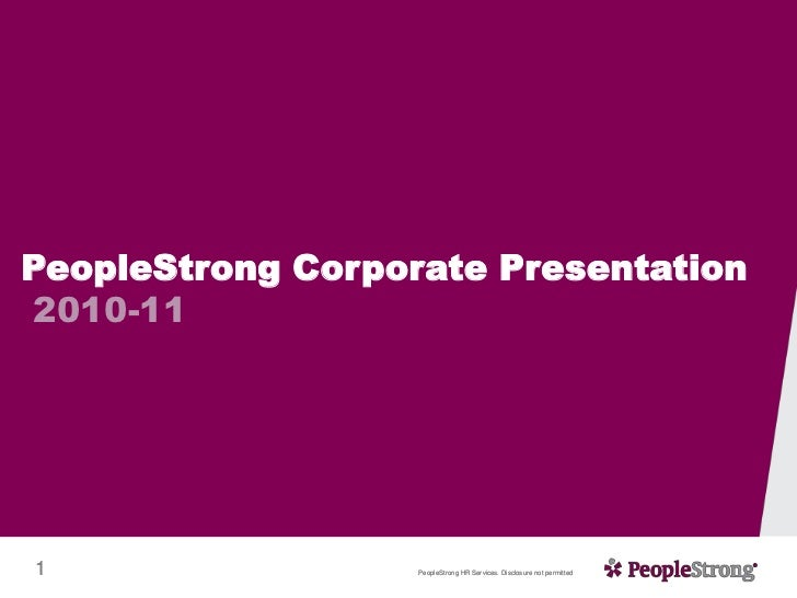 PeopleStrong Corporate Presentation 2010-11 <br />