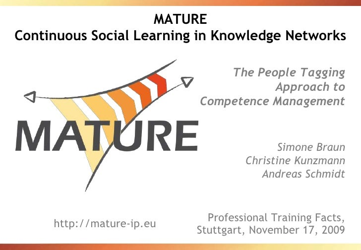 MATUREContinuous Social Learning in Knowledge Networks<br />The People Tagging Approach to Competence Management<br />Simo...