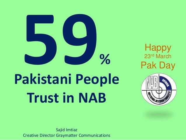 % Pakistani People Trust in NAB Happy 23rd March Pak Day Sajid Imtiaz Creative Director Graymatter Communications