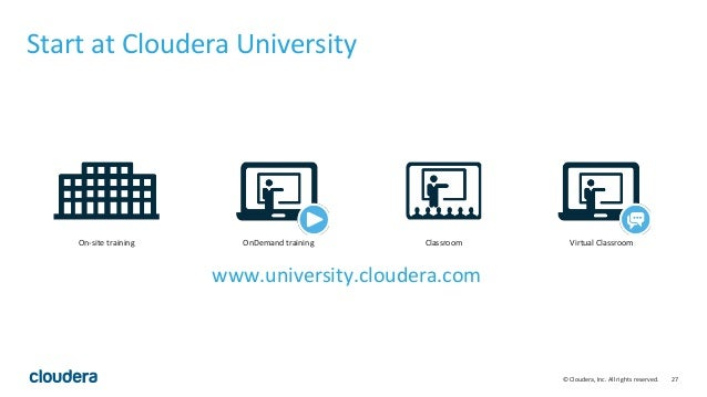 27© Cloudera, Inc. All rights reserved. Start at Cloudera University On-site training OnDemand training Classroom Virtual ...