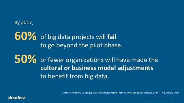 4© Cloudera, Inc. All rights reserved. 60% 50% By 2017, of big data projects will fail to go beyond the pilot phase. or fe...