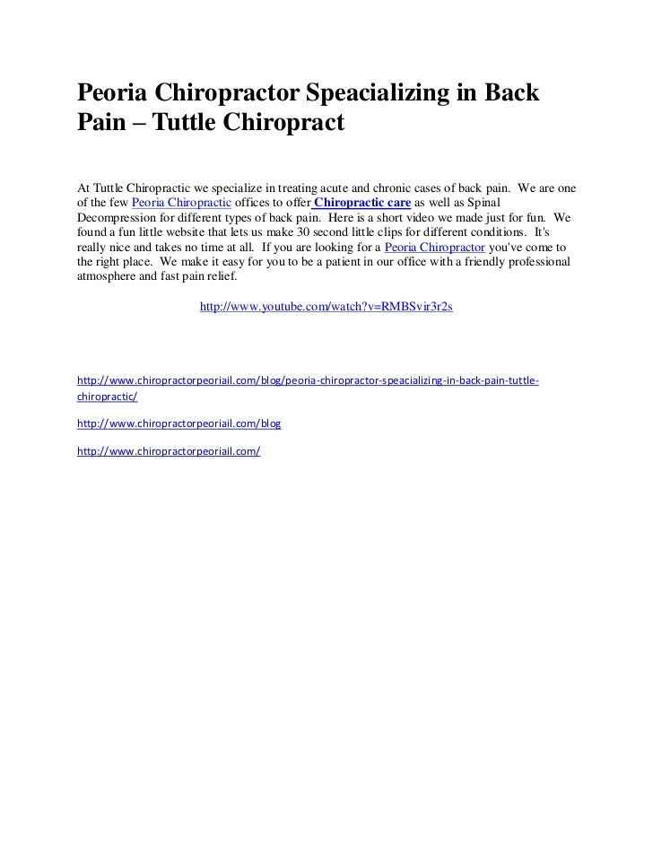 Peoria Chiropractor Speacializing in BackPain – Tuttle ChiropractAt Tuttle Chiropractic we specialize in treating acute an...