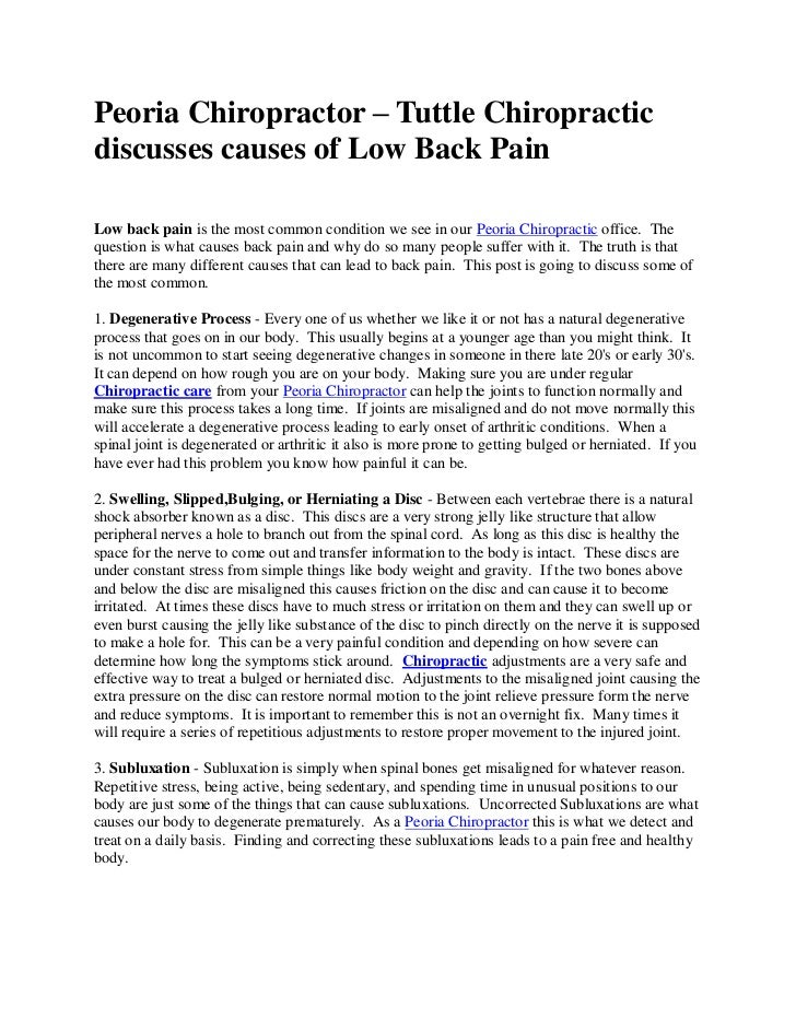 Peoria Chiropractor – Tuttle Chiropracticdiscusses causes of Low Back PainLow back pain is the most common condition we se...