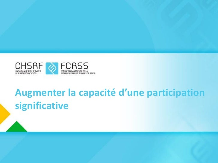 Augmenter la capacité d'une participationsignificative