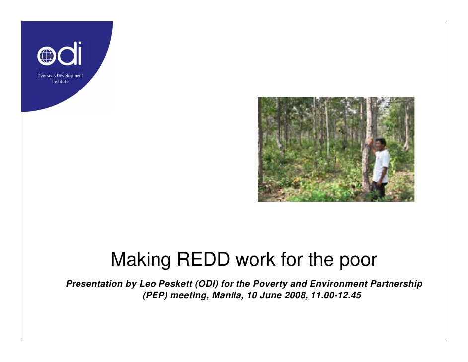 Making REDD work for the poor Presentation by Leo Peskett (ODI) for the Poverty and Environment Partnership               ...