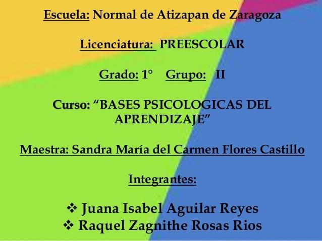 """Escuela: Normal de Atizapan de Zaragoza Licenciatura: PREESCOLAR Grado: 1° Grupo: II Curso: """"BASES PSICOLOGICAS DEL APREND..."""