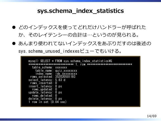 sys.schema̲index̲statistics どのインデックスを使ってどれだけハンドラーが呼ばれた か、そのレイテンシーの合計は…というのが⾒られる。 あんまり使われてないインデックスをあぶりだすのは後述の sys.schema_un...
