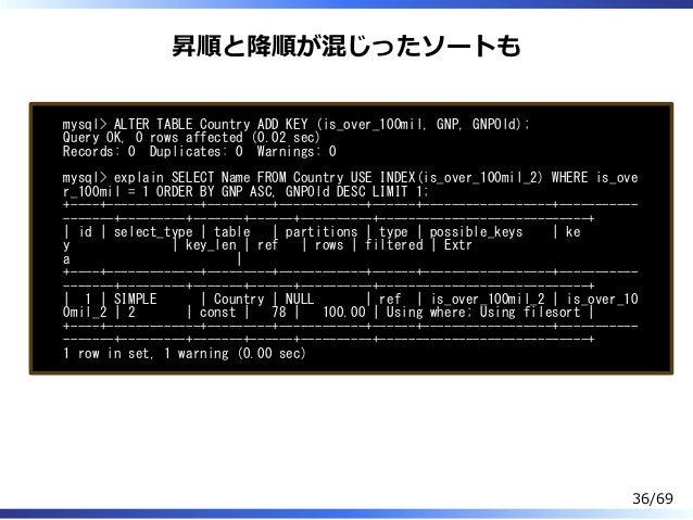 昇順と降順が混じったソートも mysql> ALTER TABLE Country ADD KEY (is_over_100mil, GNP, GNPOld); Query OK, 0 rows affected (0.02 sec) Reco...