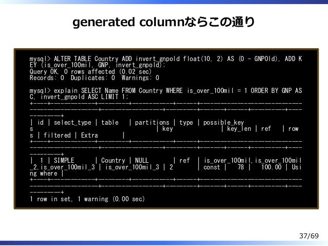 generated columnならこの通り mysql> ALTER TABLE Country ADD invert_gnpold float(10, 2) AS (0 - GNPOld), ADD K EY (is_over_100mil...