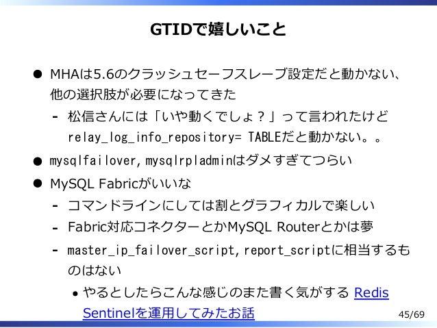 GTIDで嬉しいこと MHAは5.6のクラッシュセーフスレーブ設定だと動かない、 他の選択肢が必要になってきた 松信さんには「いや動くでしょ︖」って⾔われたけど relay_log_info_repository= TABLEだと動かない。。 ...