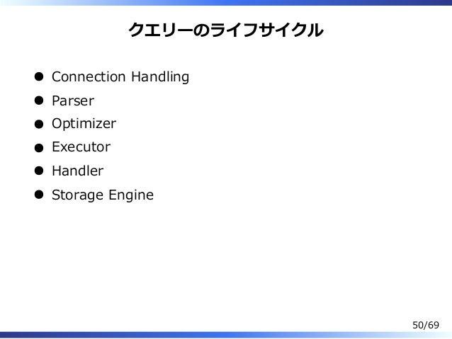 クエリーのライフサイクル Connection Handling Parser Optimizer Executor Handler Storage Engine 50/69