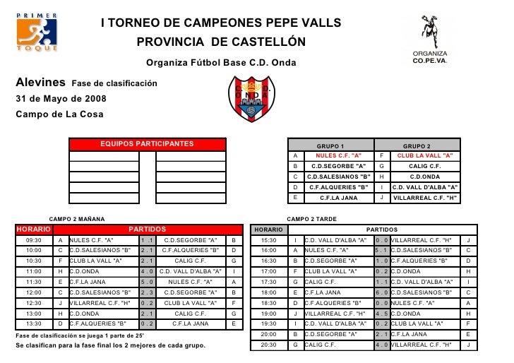 I TORNEO DE CAMPEONES PEPE VALLS                                           PROVINCIA DE CASTELLÓN                         ...