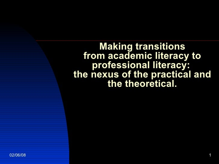 Making transitions  from academic literacy to  professional literacy:  the nexus of the practical and the theoretical.