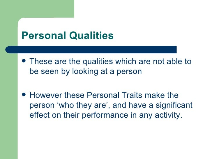 pe physical and personal qualities