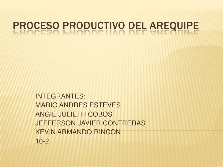 PROCESO PRODUCTIVO DEL AREQUIPE   INTEGRANTES:   MARIO ANDRES ESTEVES   ANGIE JULIETH COBOS   JEFFERSON JAVIER CONTRERAS  ...