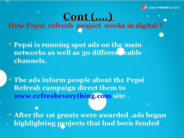pepsi refresh project essay