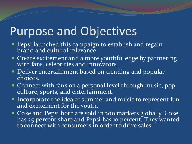objectives of pepsico company Pepsico allowed drinkfinity to operate like a startup as it looks to foster innovation and react faster to new consumer trends.